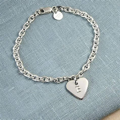 solid silver initial charm bracelet by hersey