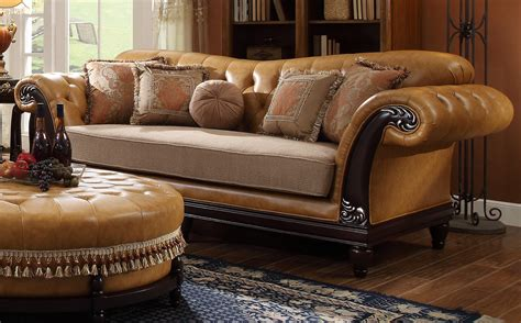 sofa with leather and fabric hd 5144 homey design leather fabric sofa