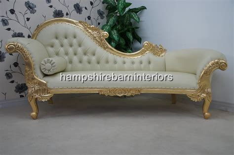 ornate chaise lounge ornate chaise longue large gold cream faux leather lounge