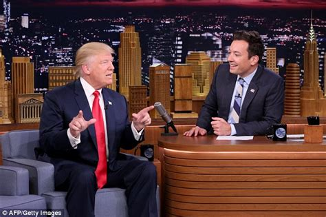 leslie mann interview jimmy fallon donald trump lets jimmy fallon wildly muss up his hair on