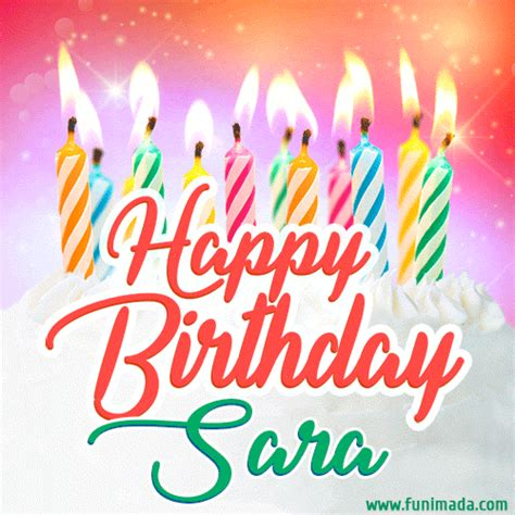 happy birthday gif  sara  birthday cake  lit candles   funimadacom