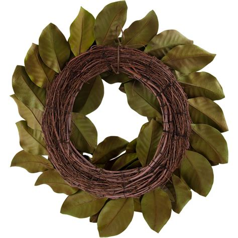 artificial magnolia leaves 26 quot artificial magnolia leaf wreath realistic green