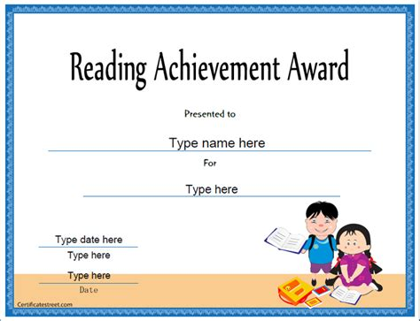 reading certificate template certificate free award certificate templates no