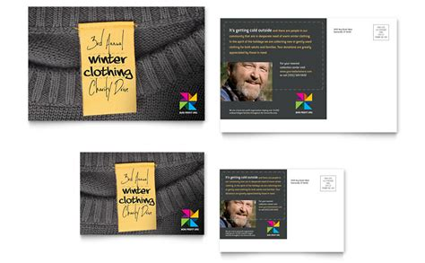 Winter Clothing Drive Postcard Template Word Publisher Apparel Flyer Templates