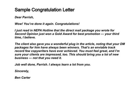 exle of formal congratulation letter how to write congratulation letters