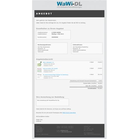Design Angebot Vorlage Jtl Wawi Email Vorlagen Html Design 01 Wawi Dl 10 00