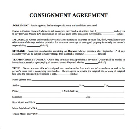 consignment inventory agreement template consignment agreement 13 free sle selling contract