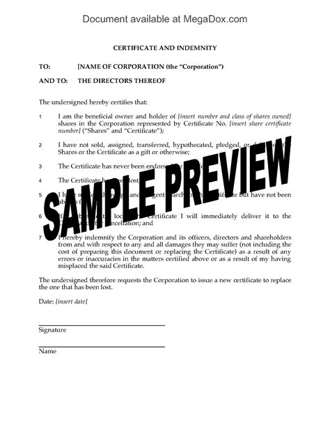 canada indemnity for lost share certificate legal forms