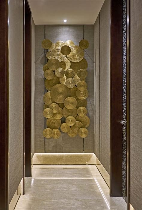 wall decor sculpture contemporary gold wall sculpture focal point in hallway