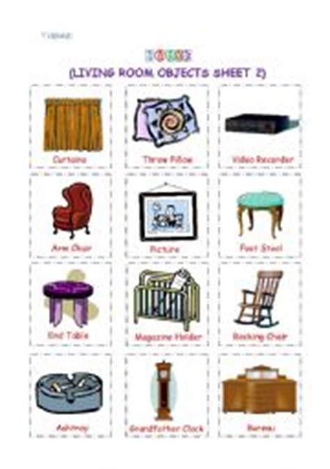 room object teaching worksheets living room