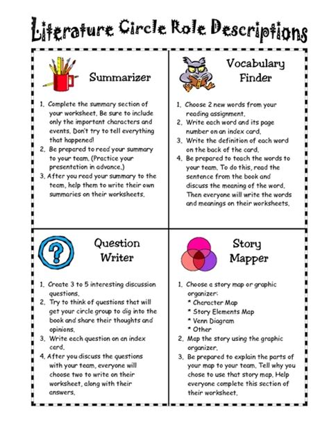 literature themes elementary worksheet literature circles roles worksheets caytailoc