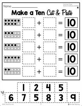 make a ten cut glue worksheets differentiated k 3