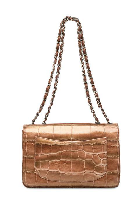 Chanel Semi Shiny Alligator Shopping Bag by A Shiny Copper Alligator Jumbo Classic Single Flap Bag