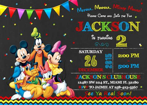 mickey mouse clubhouse invitation birthday mickey mouse