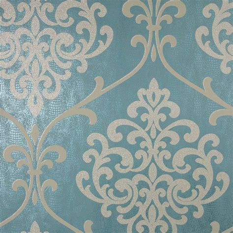 kenneth ambrosia teal glitter damask wallpaper 2542