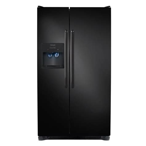 shop frigidaire 26 cu ft side by side refrigerator with ice maker black at lowes com
