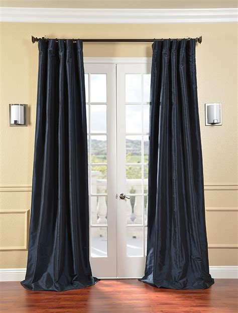 faux taffeta curtains navy blue faux silk taffeta curtains drapes ebay