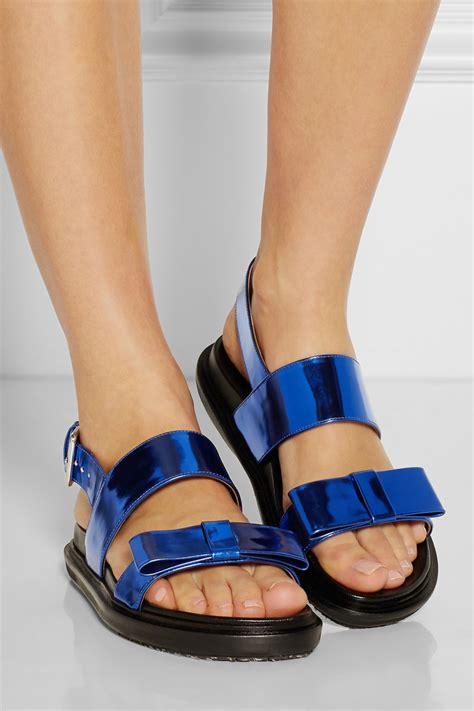 marni sandal marni metallic leather sandals in blue lyst