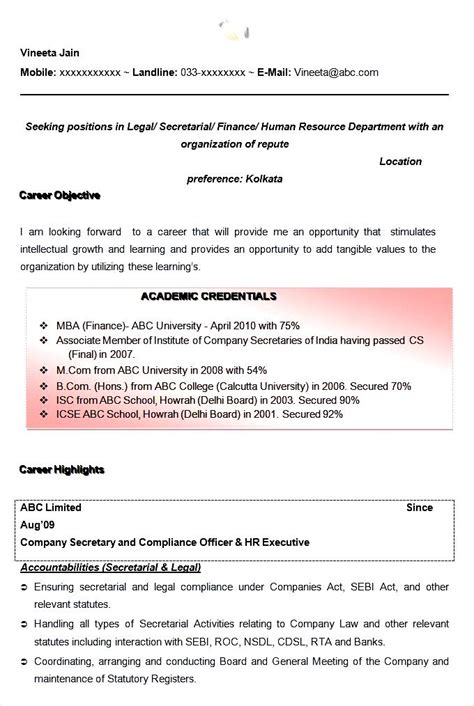 Professional Resume Format Exles by 13843 Resume Format For Freshers Mcom Professional