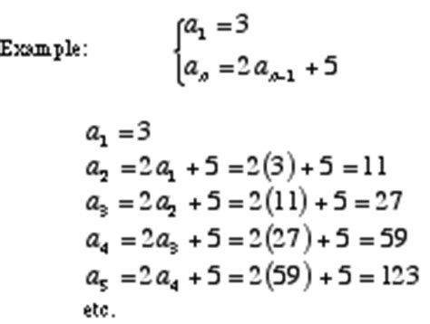 define recursive pattern in math recursive formula for quadratic sequences