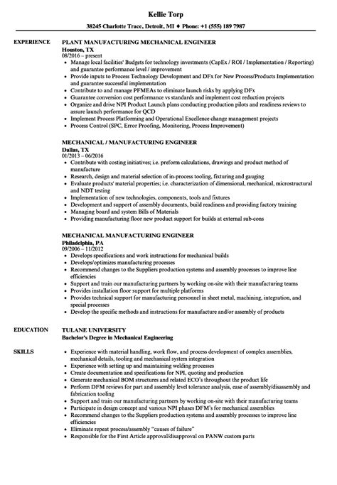 resume format for mechanical production engineer mechanical manufacturing engineer resume sles velvet