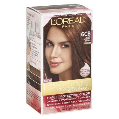 buy l oreal 174 excellence 174 cr 232 me protection hair color in 5 medium brown from bed l oreal 174 protection excellence cr 232 me color 6cb light chestnut brown target