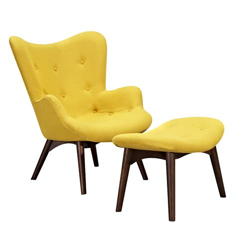 Modern Chair Ottoman by Aiden Mid Century Modern Yellow Fabric Chair Ottoman In