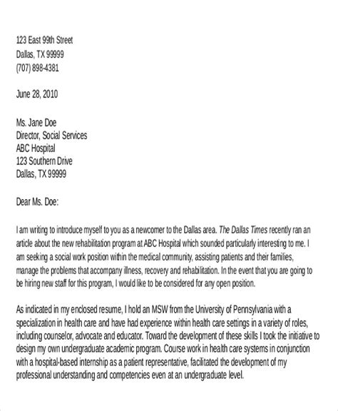 Cover letter format social work