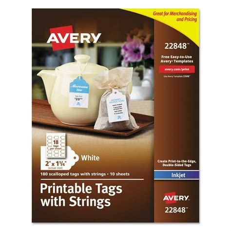 Avery Printable Tags With Strings 2 X 1 1 4 White Scalloped 180 Ave22848 Ebay Avery Printable Tags With Strings Template