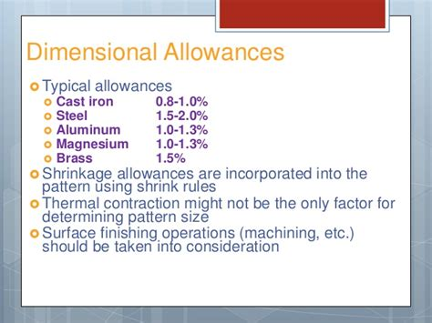 calculation of pattern allowances in casting pattern allowances in metal casting