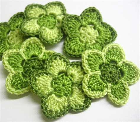 Dompet Flower Cf S 223 7 crochet cotton flower appliques in green shades 1 6 inches 6 pc on luulla