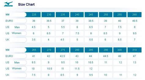 mizuno soccer cleats size chart shoe size charts big z