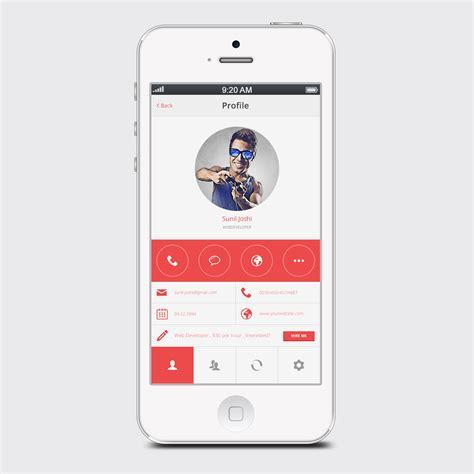 dans mobile clean white user profile mobile app psd