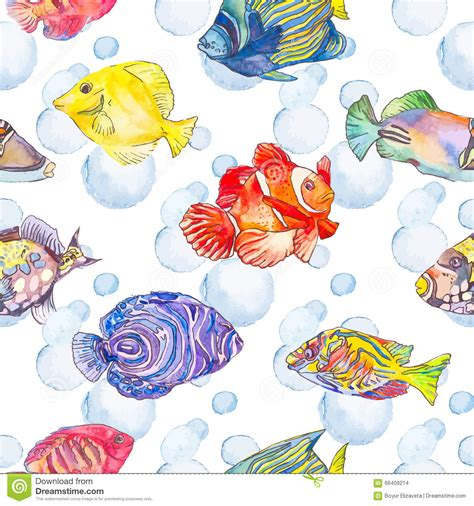watercolor ocean pattern sea pattern tropical fish jellyfish ocean stock vector