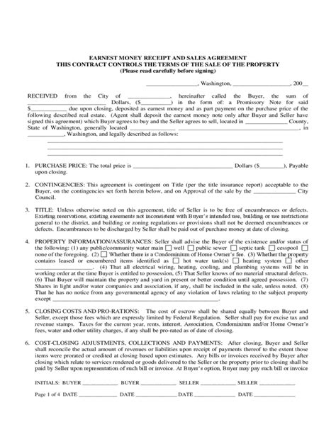 money agreement template earnest money agreement form washington free