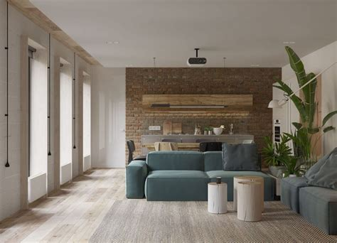white walls and exposed brick go minimalist in this