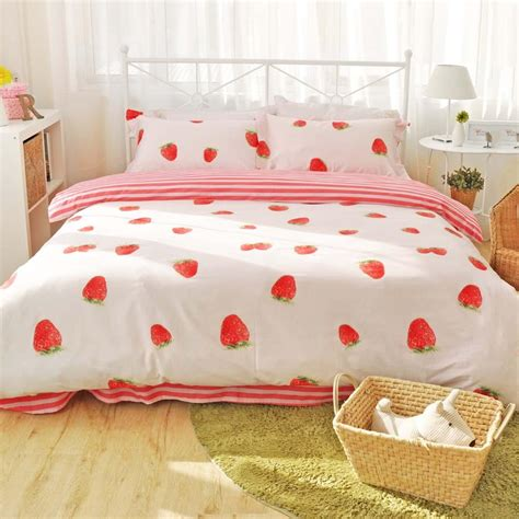 kawaii comforter kawaii strawberry bedding set sp166365 spreepicky