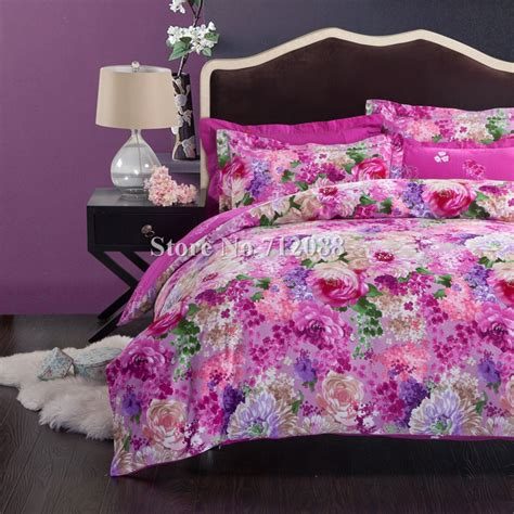 Pink And Purple Bedding Sets Free Shipping Home Textile King Comforter Pink Purple Flower Cotton Sanding 4pcs