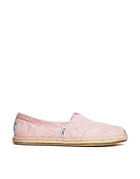 classic flat shoes pink toms pink space dyed classic flat shoes at asos