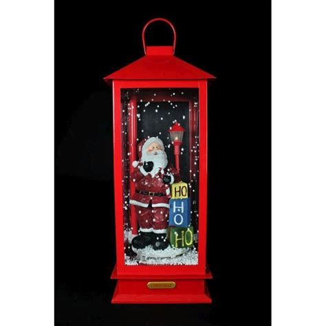 snowing santa lantern with music led lights 19inch buy