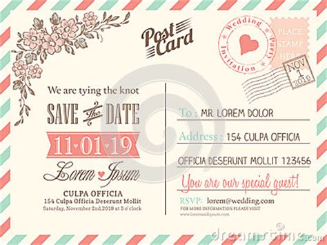 postcard invitation templates free vintage postcard background for wedding invitation stock