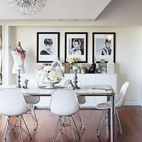 Dining Room Decorating Ideas Uk by White Dining Room With Designer Chairs Decorating Ideas