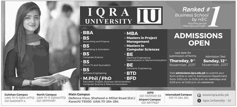 Mba In Iqra In Karachi by Admission Open In Iqra Karachi 29 Oct 2017