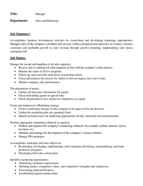career summary exles for sales and marketing description of manager in sales and marketing department