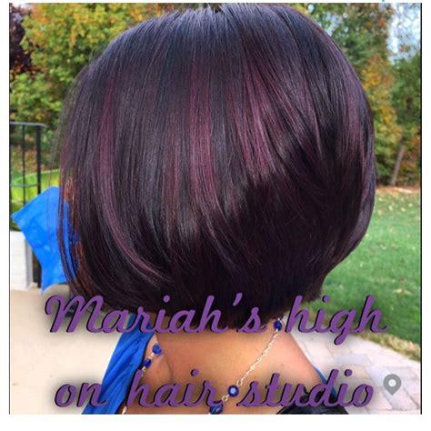 black stacked bob with purple balayage dark brown hair with balayage red violet on short bob