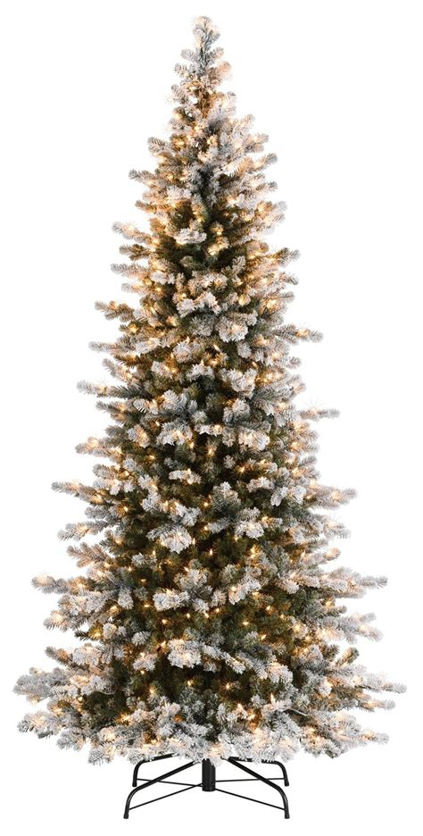 artificial christmas tree legs decoration ideas slim frosted artificial tree with snow effect and brown lights and