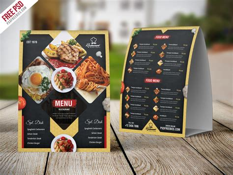 menu card template photoshop restaurant menu table tent card psd template uxfree