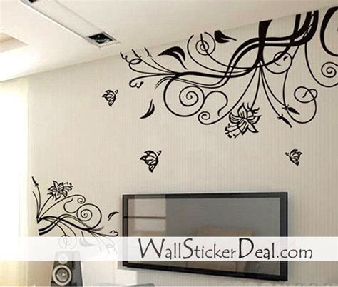 home decor wall stickers home decorating images lovely flower with butterfly wall