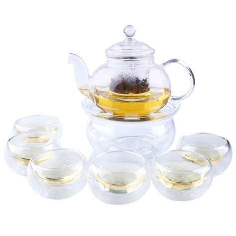 glass teapot with heat glass teapot with infuser leaf warmer tea pot set