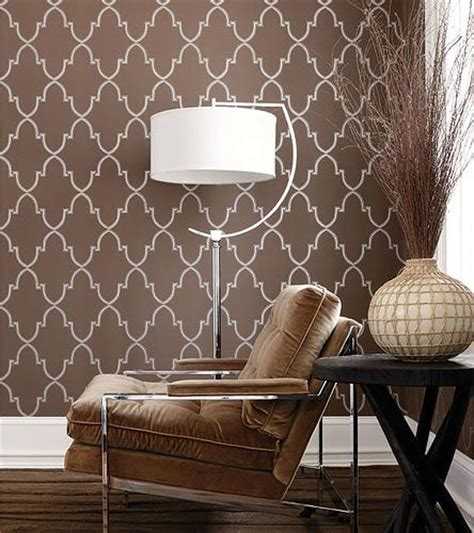 Thibaut Designs by Brown Trellis Wallpaper Contemporary Living Room